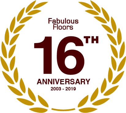 a badge commemorating fabulous floor's 16th anniversary