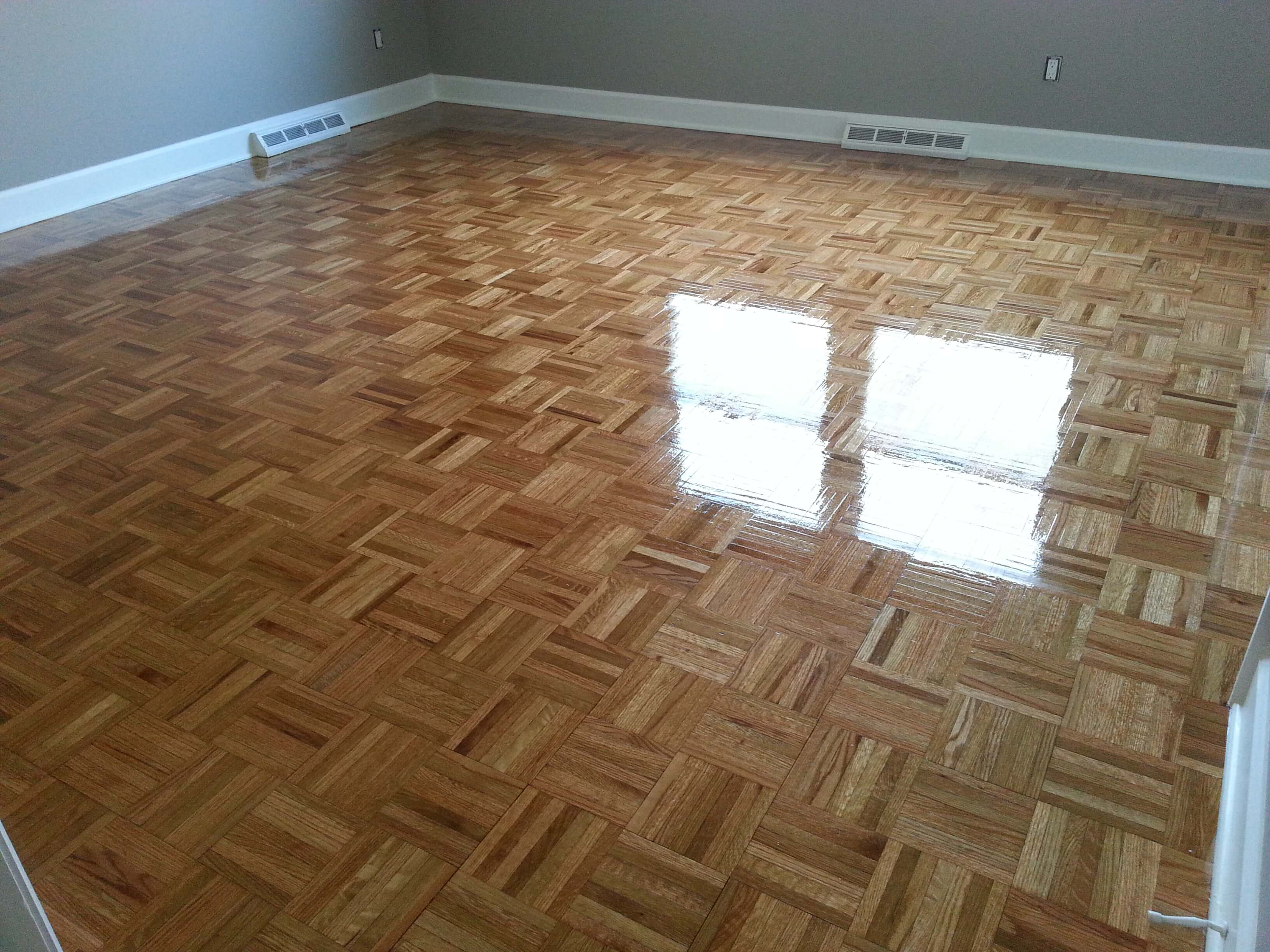 A refinished parquet floor done by Fabulous Floors Chicago