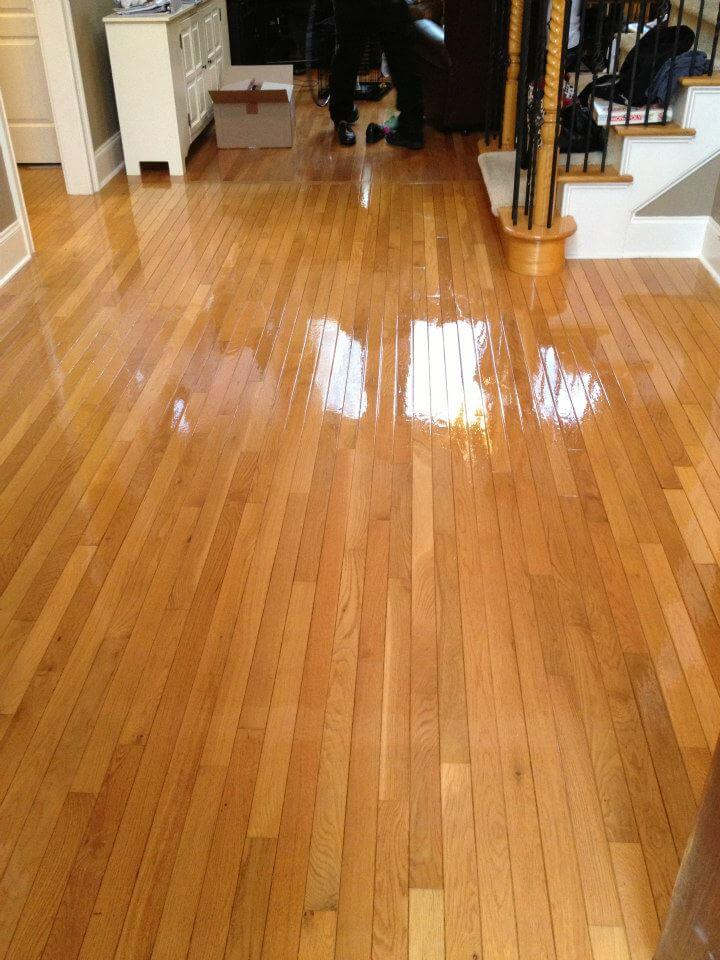 shining and well stained hardwood floor.