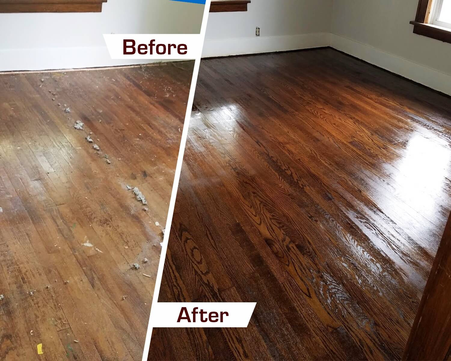 Before and after hardwood floor refinishing in Arlington Heights, IL