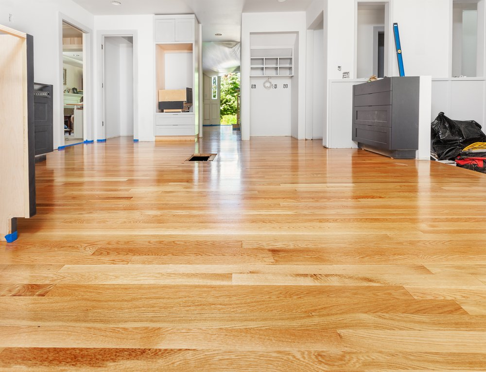A recently refinished hardwood floor in the Naperville, IL area