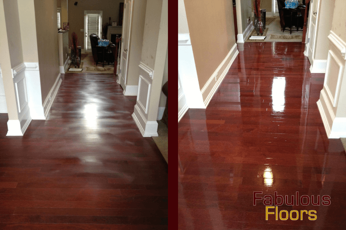 before and after hardwood floor refinishing in Darrien, IL