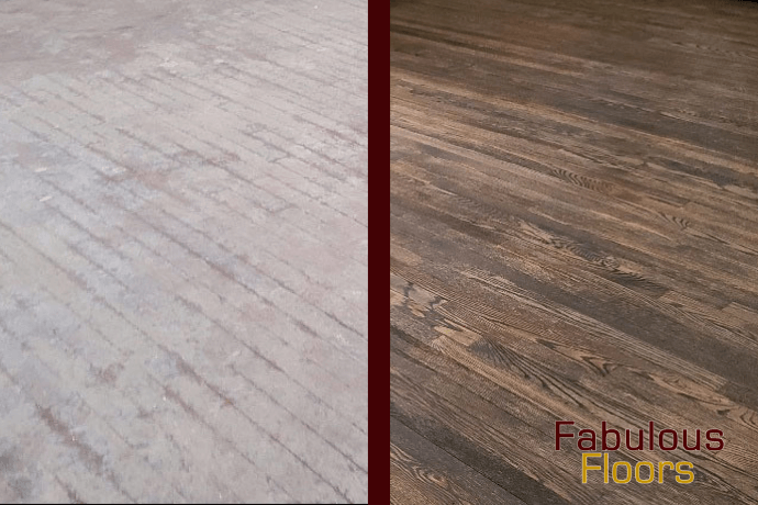 before and after hardwood floor refinishing in Burr Ridge, IL