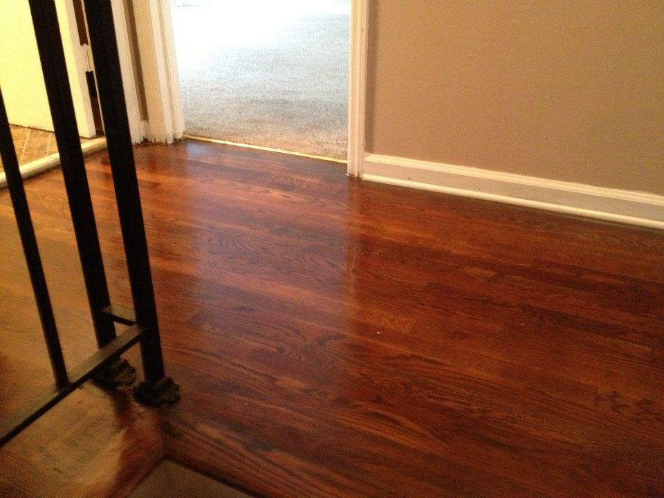 A wood floor after being refinished